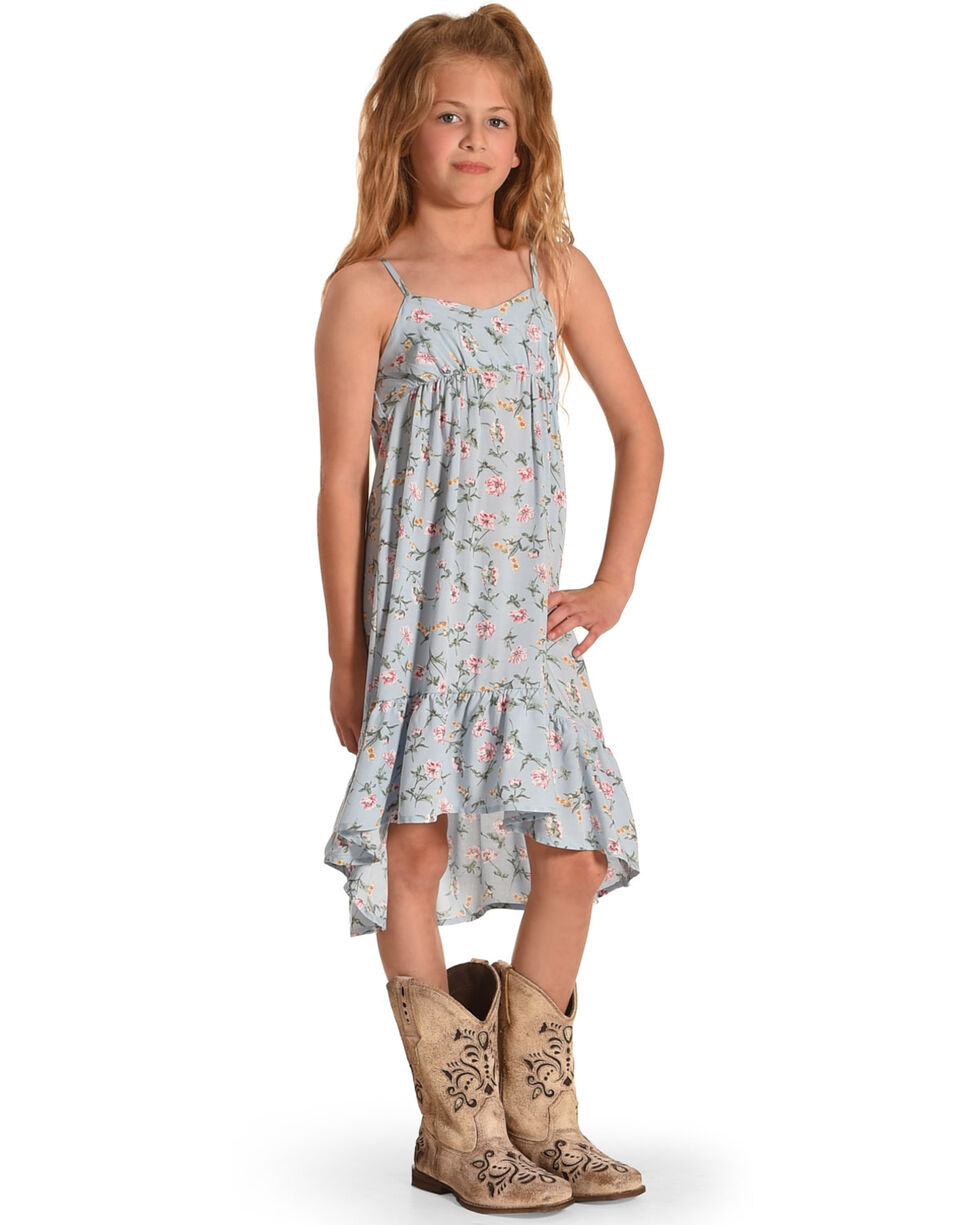 Idol Mind Girls' Long Floral Printed Sundress, Blue, hi-res