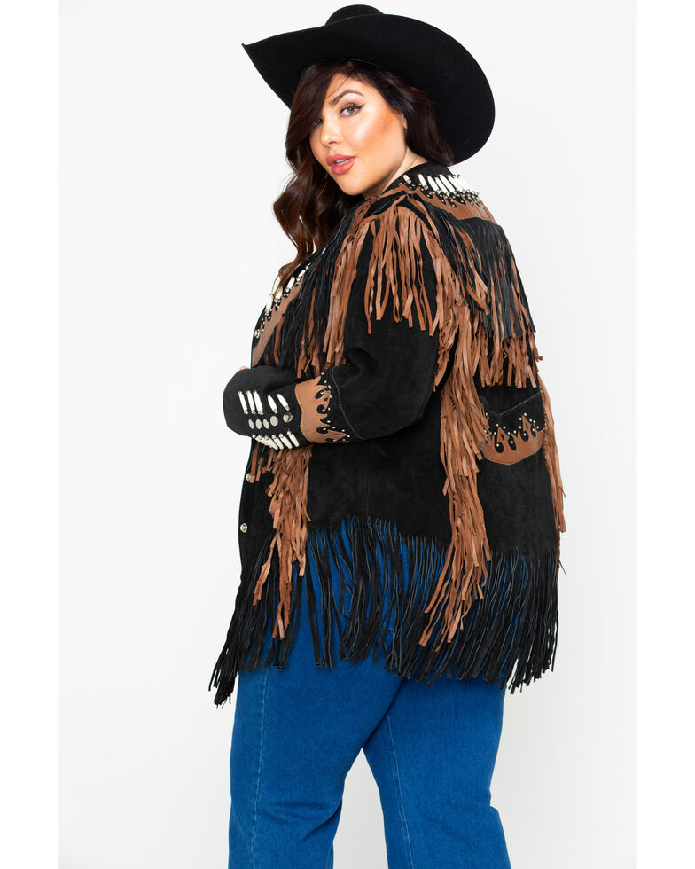 Liberty Wear Black Fringe Leather Jacket - Plus, Black, hi-res