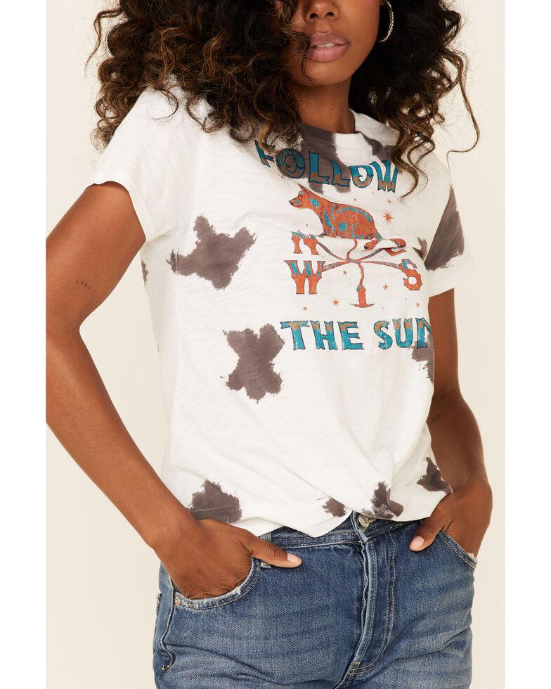 Shyanne Women's Tie Dye Follow The Sun Graphic Short Sleeve Tee , White, hi-res