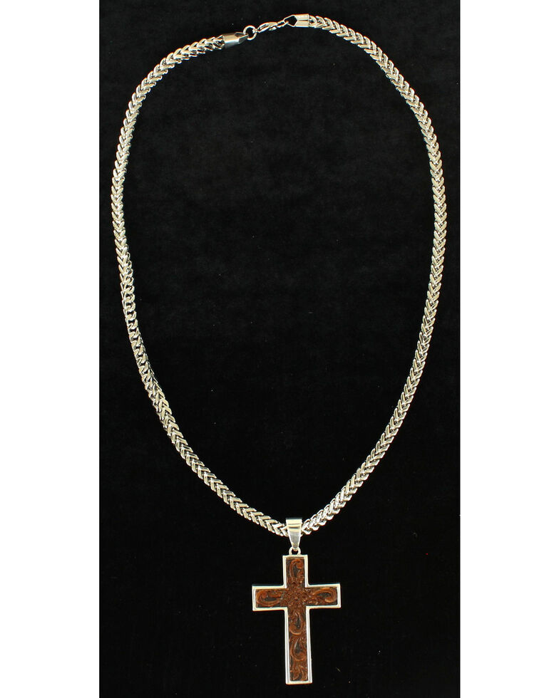 Twister Men's Leather Cross Necklace , Silver, hi-res