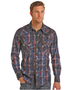 Rock & Roll Cowboy Men's Indigo Spray Wash Plaid Shirt , Red, hi-res