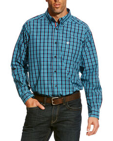 Ariat Men's Aqua Baines Small Plaid Shirt , Aqua, hi-res