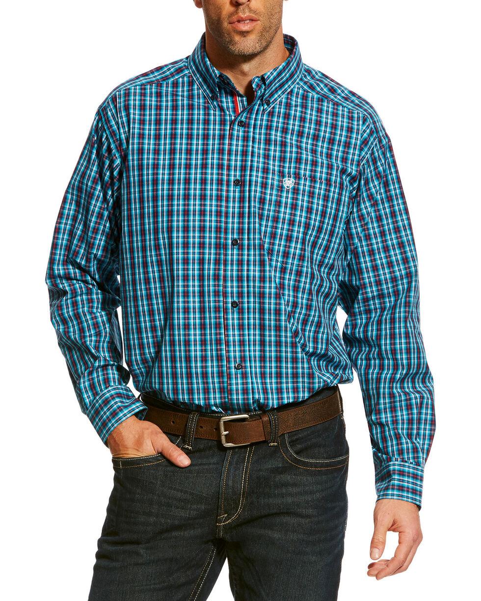 Ariat Men's Aqua Baines Small Plaid Shirt , Aqua, hi-res
