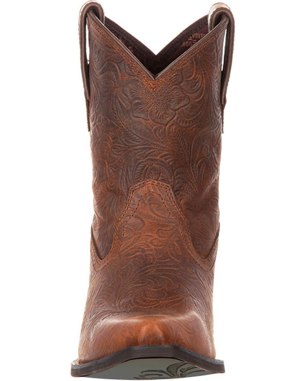 Crush by Durango Women's Western Embossed Booties, Brown, hi-res