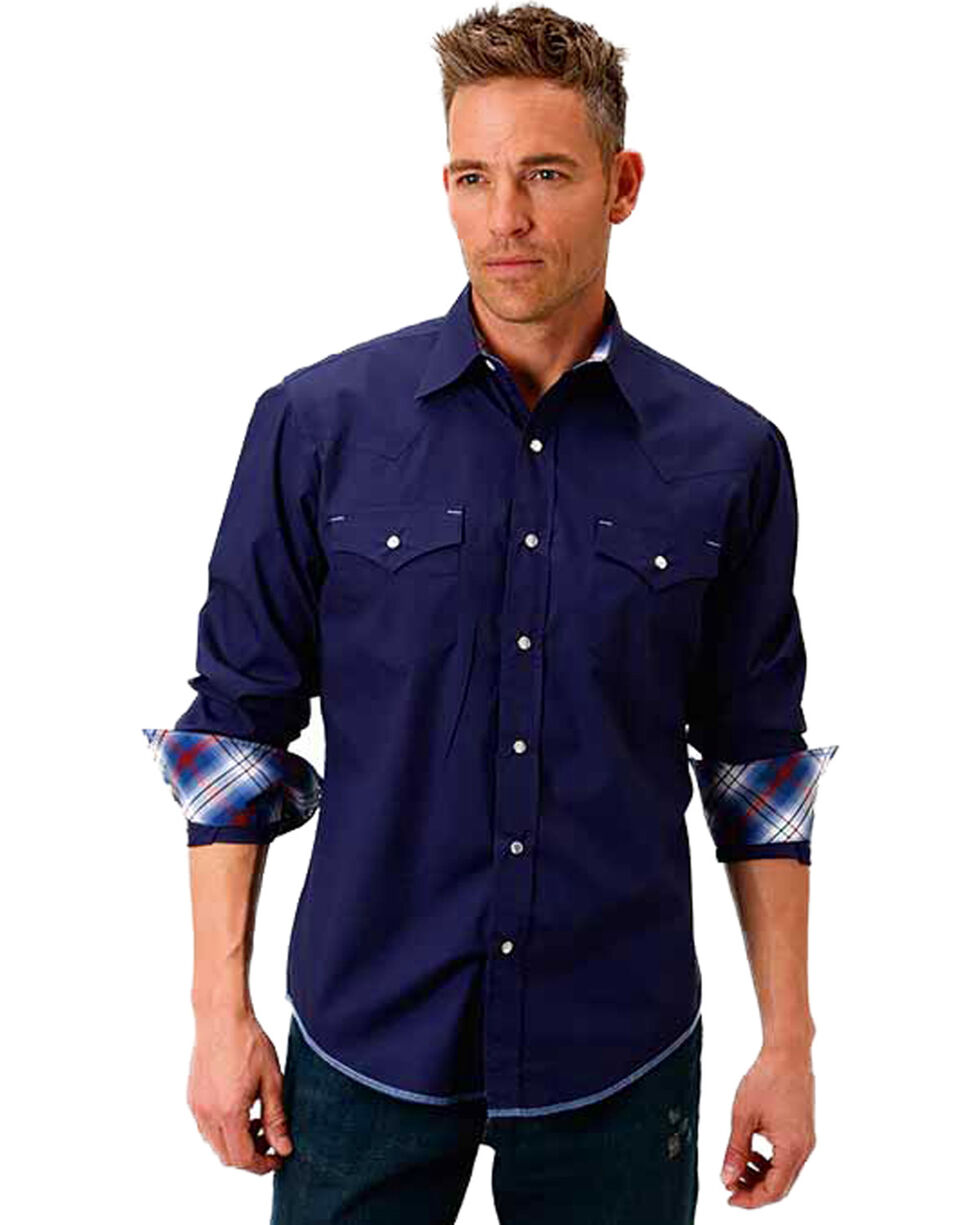 Roper Men's Navy Solid Snap Placket Western Shirt , Navy, hi-res