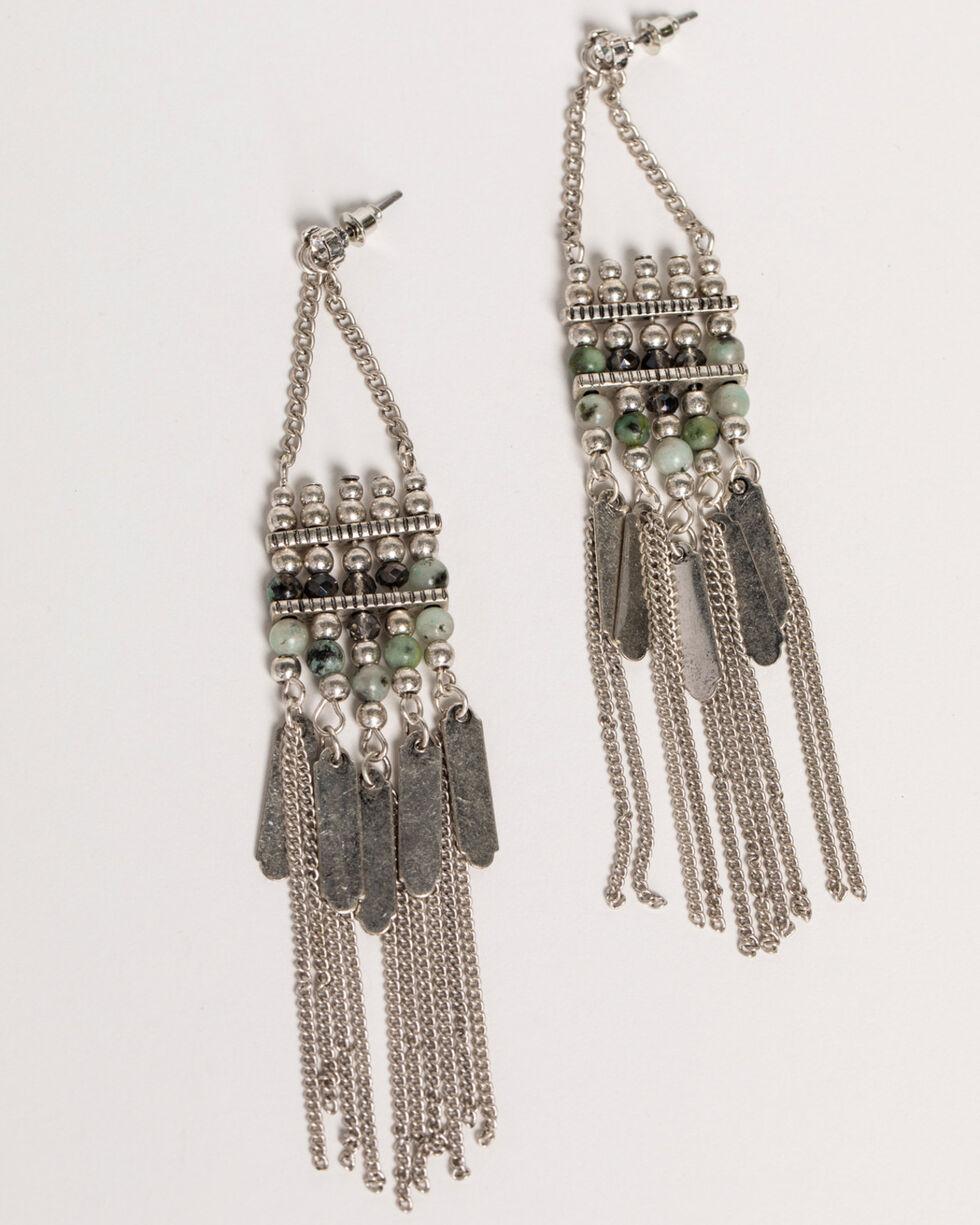 Shyanne Women's Jade Sea Festival Chain Fringe Earrings, Silver, hi-res