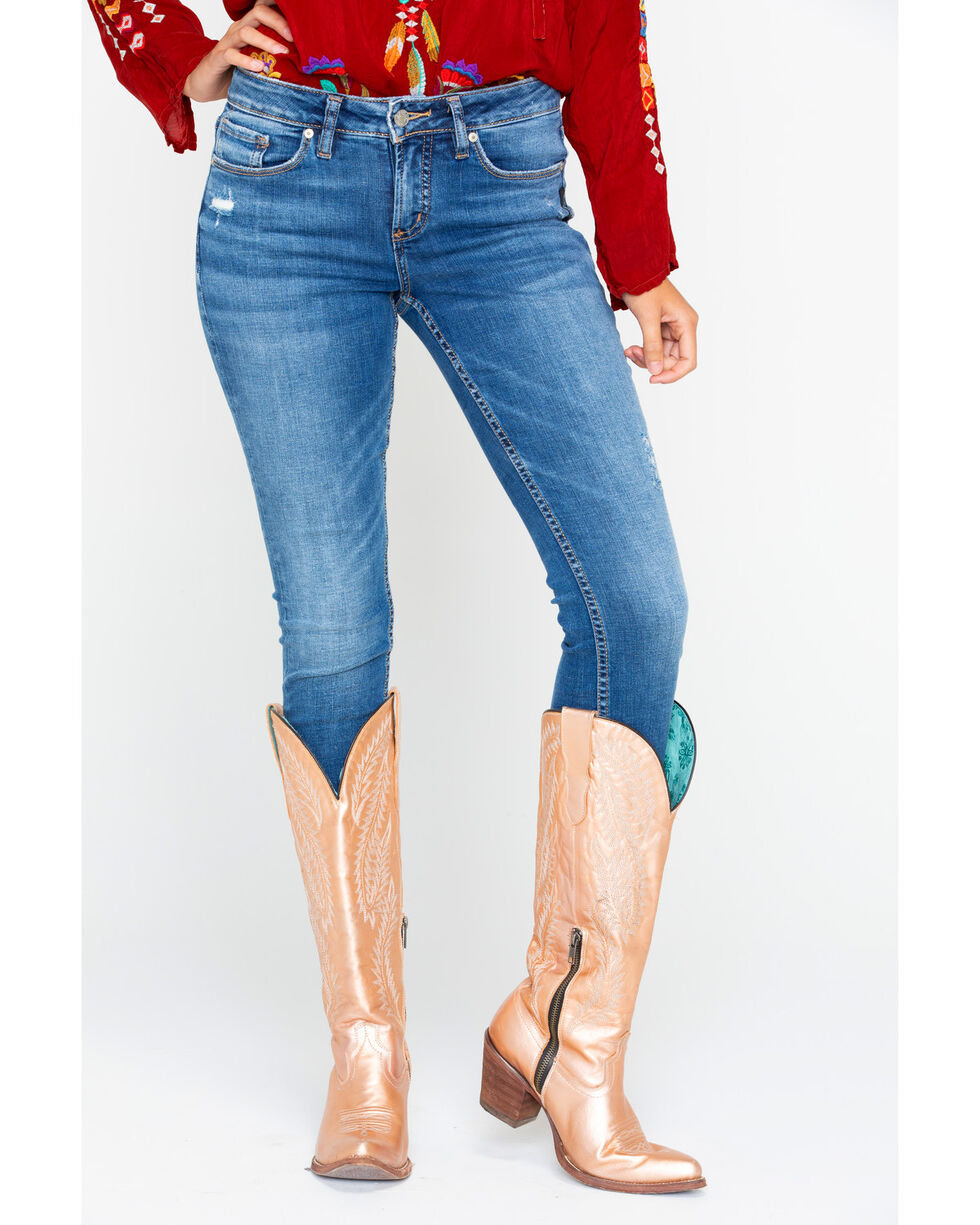 Silver Women's Western Aiko Skinny Jeans, Indigo, hi-res