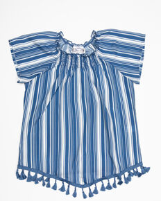 Shyanne Girls's Striped Woven Top, Blue, hi-res