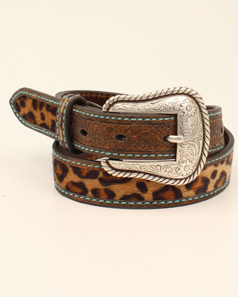 Ariat Girls' Brown Leopard Print Western Belt, Brown, hi-res