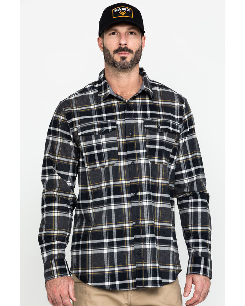 Hawx Men's Grey Berm Stretch Plaid Long Sleeve Flannel Work Shirt , Charcoal, hi-res