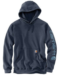 Carhartt Men's Midweight Signature Logo Hooded Work Sweatshirt - Big , Blue, hi-res