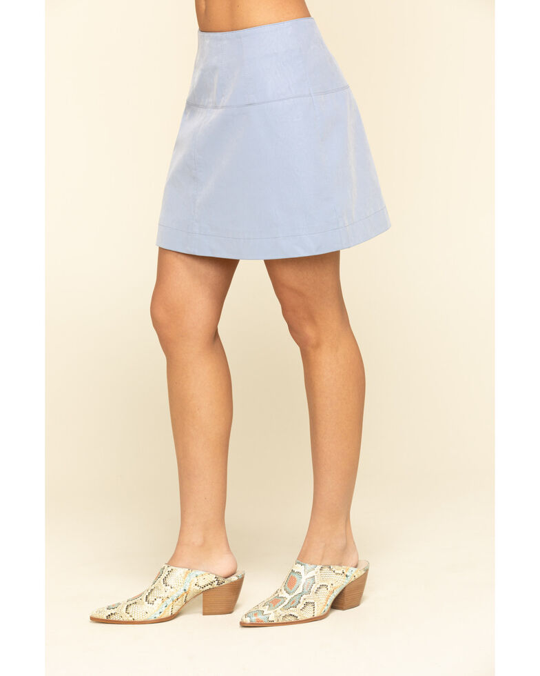 Free People Women's Days in The Sun Suede Skirt, Light Blue, hi-res