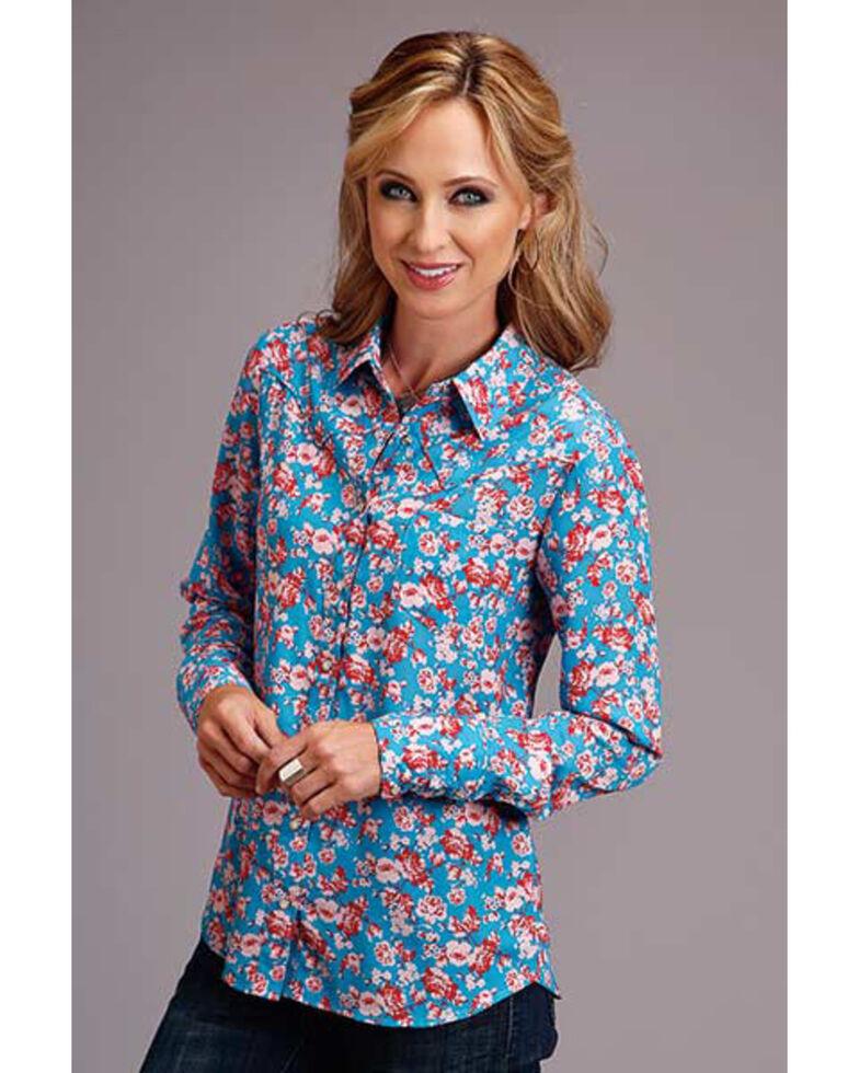 Stetson Women's Blue Rose Print Long Sleeve Western Shirt, Blue, hi-res