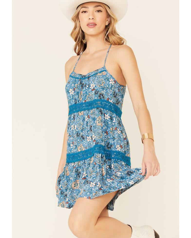 Shyanne Women's Blue Floral Print Sun Dress, Blue, hi-res