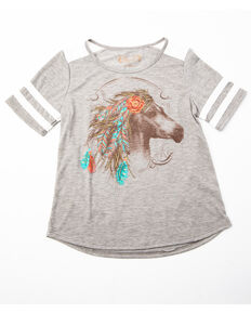 Shyanne Girls' Athletic Horse Graphic Tee, Grey, hi-res