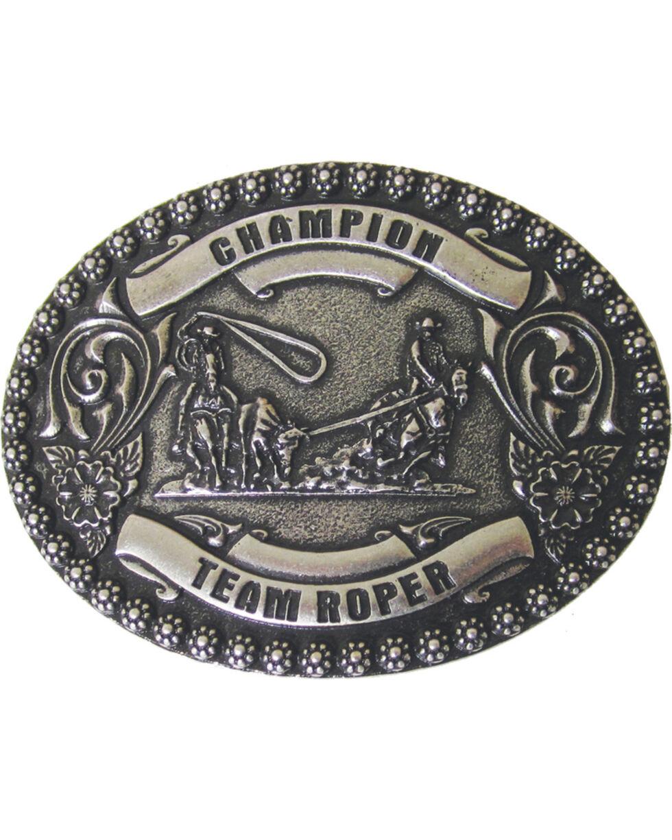 AndWest Men's Champion Team Roper Belt Buckle, Silver, hi-res