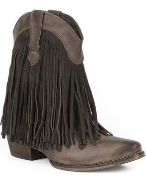Roper Women's Brown Dylan Western Booties - Snip Toe , Brown, hi-res