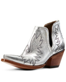 Ariat Women's Dixon Silver Metallic Fashion Booties - Snip Toe, Grey, hi-res