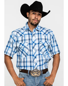 Resistol Men's Blue Vallecito Large Plaid Short Sleeve Western Shirt , Blue, hi-res