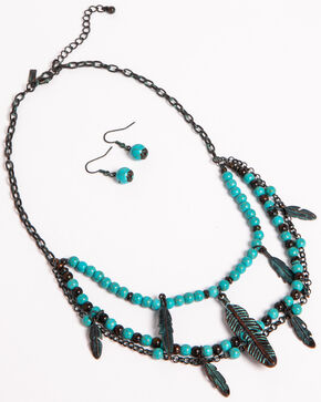 Shyanne Women's Odessa Multi-Layer Feather Jewelry Set, Turquoise, hi-res