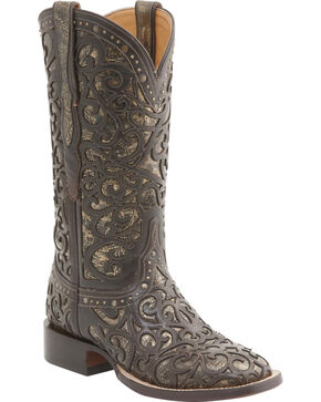 Lucchese Women's Handcrafted Sierra Lasercut Western Boots - Square Toe , Espresso, hi-res