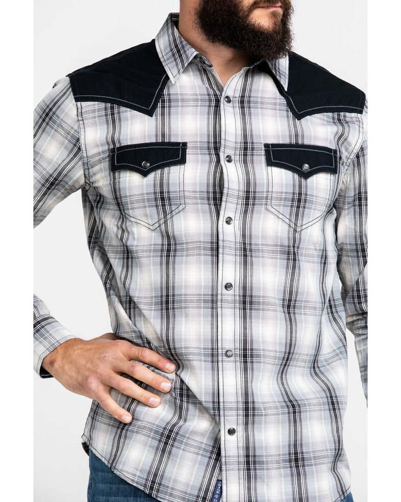 Moonshine Spirit Men's 1977 Plaid Contrast Yolk Long Sleeve Western Shirt , Blue, hi-res