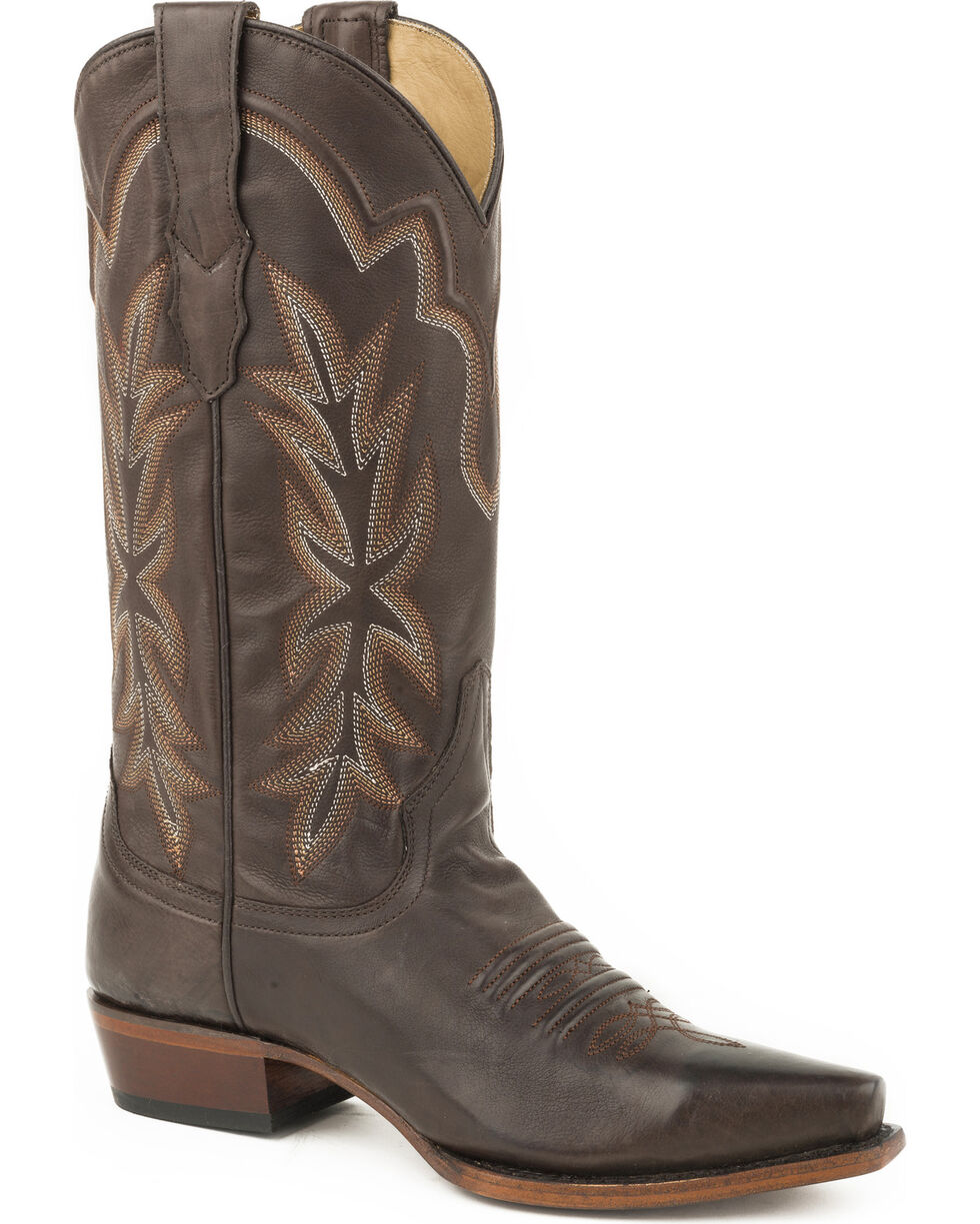 Stetson Women's Dark Brown Casey Leather Boots - Snip Toe , Brown, hi-res