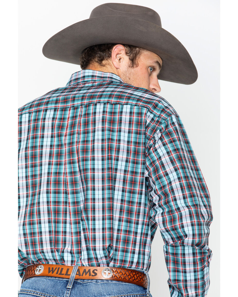 Cinch Men's Plaid Western Shirt, Burgundy, hi-res