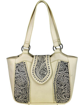 Montana West Trinity Ranch Genuine Floral Tooled Handbag , Beige/khaki, hi-res