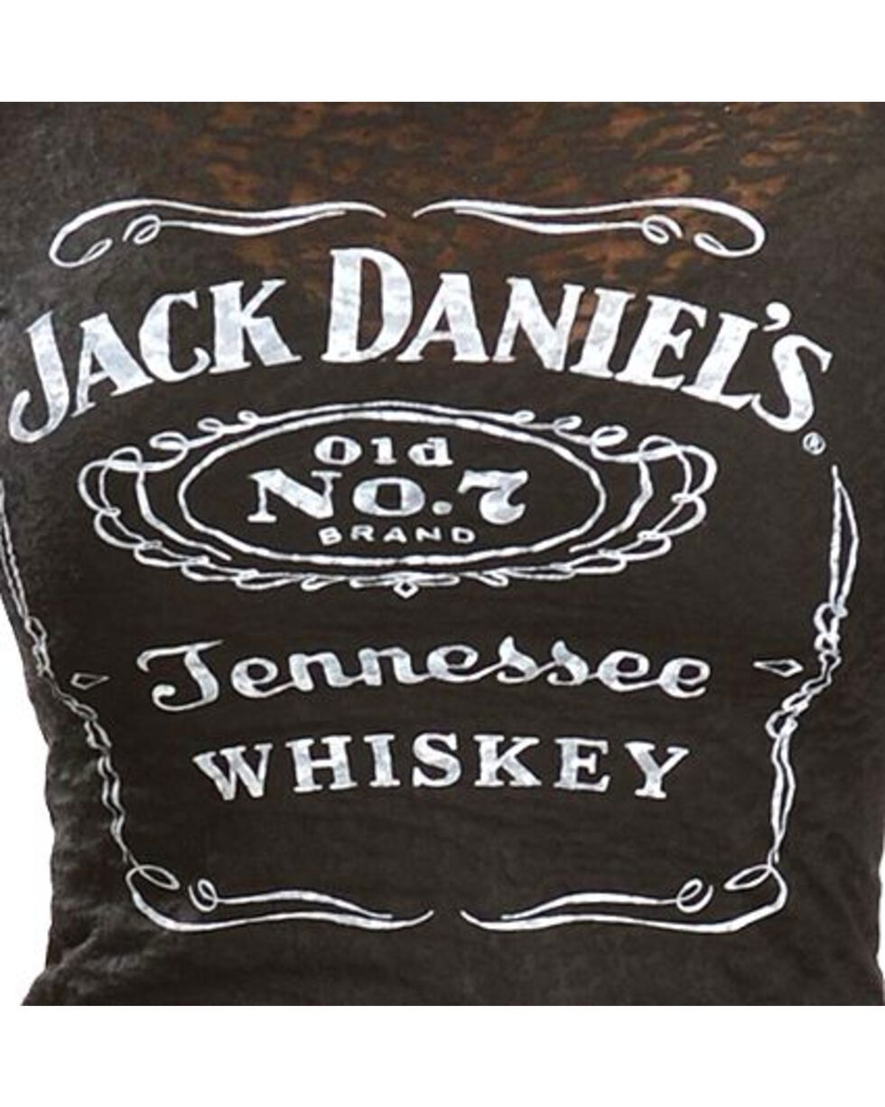 Jack Daniel's Women's Label Burnout Short Sleeve Tee, Black, hi-res