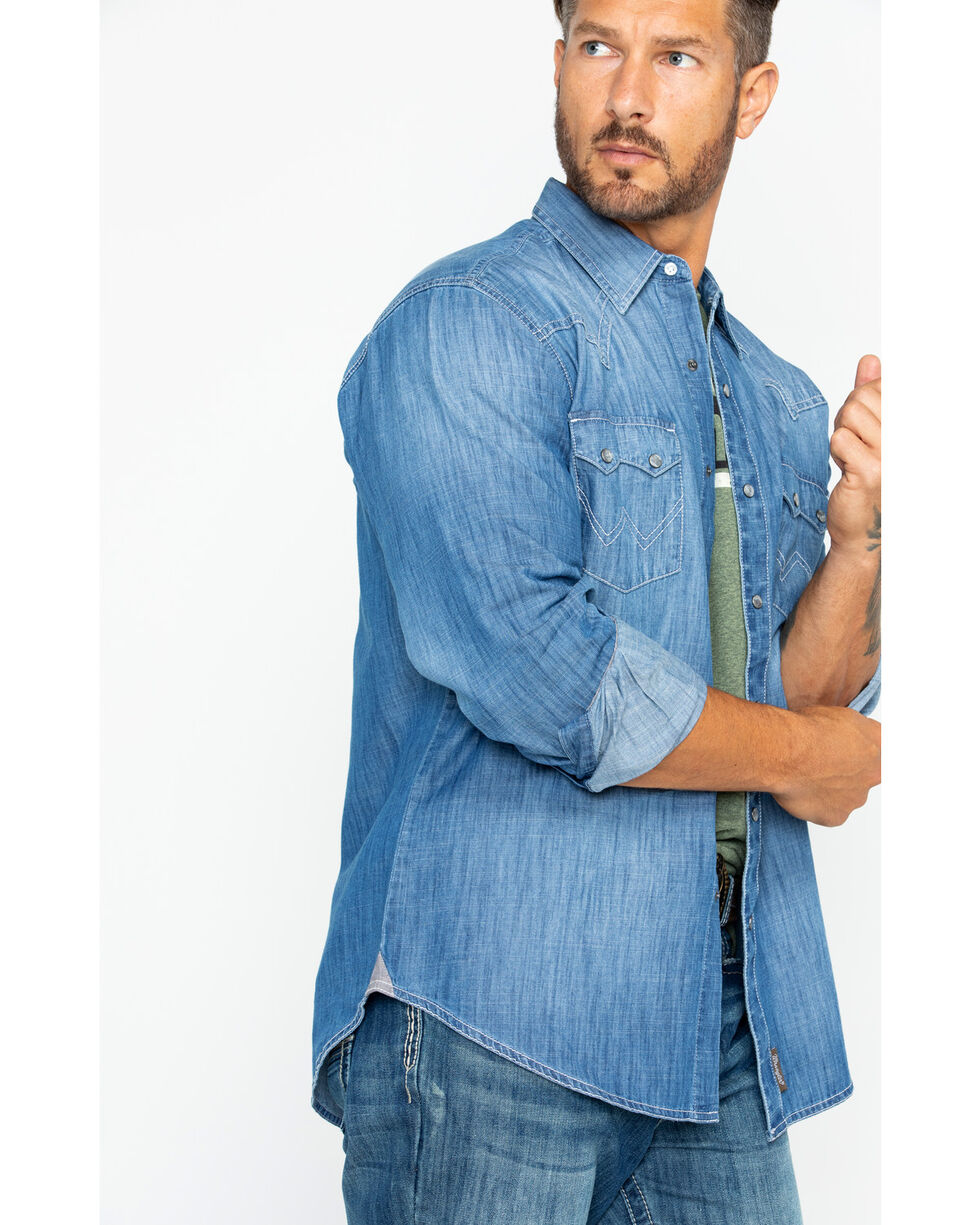 Wrangler Men's Long Sleeve Retro Premium Vintage Wash Shirt , Indigo, hi-res