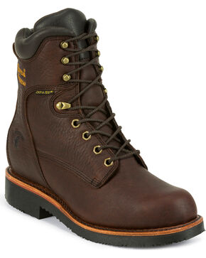 "Chippewa Men's Oiled  8"" Lace-Up Waterproof Work Boots - Steel Toe, Walnut, hi-res"