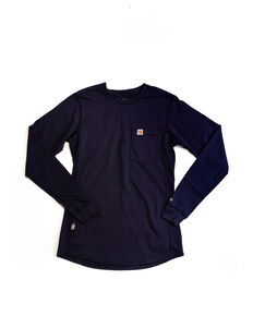 Carhartt Women's FR Force Long Sleeve Shirt, Navy, hi-res