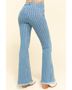 Cello Women's Medium Wash Pinstripe High Rise Flare Jeans, Blue, hi-res