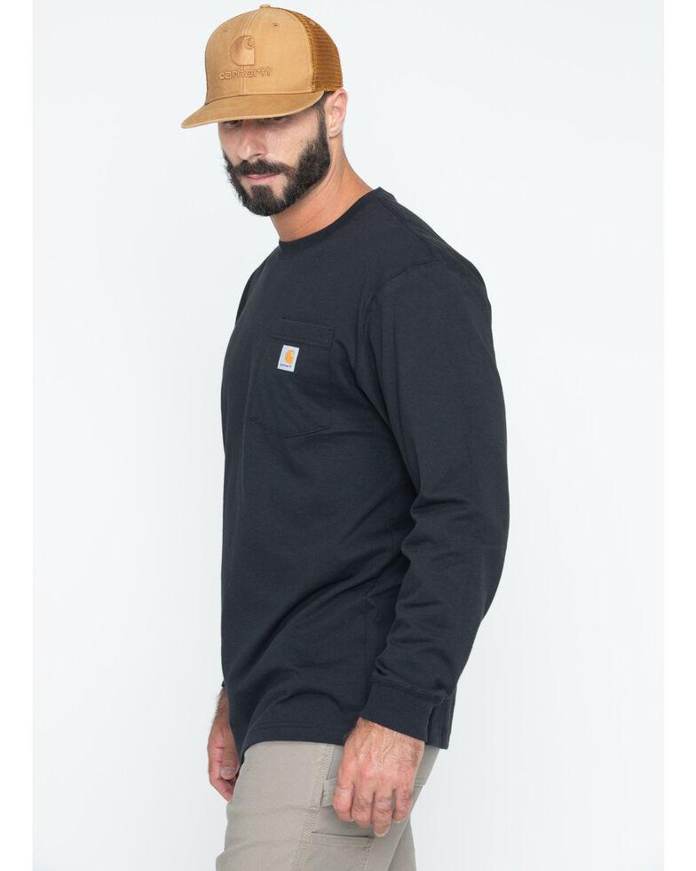 Carhartt Men's Pocket Long Sleeve Work Shirt - Tall, Black, hi-res