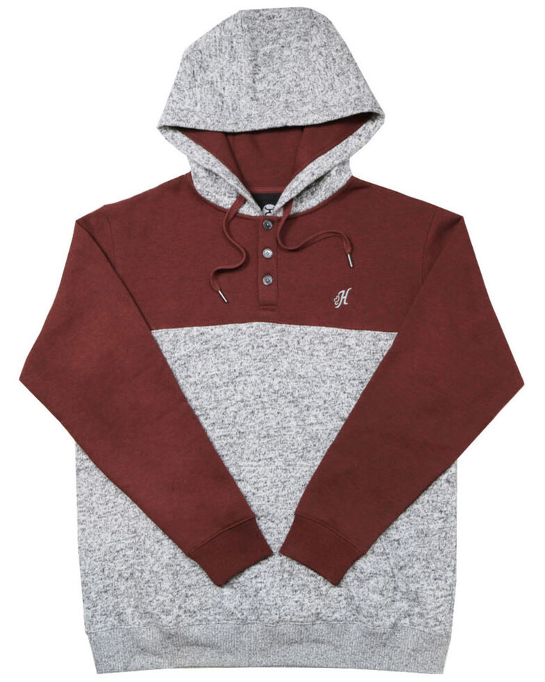HOOey Men's Grey & Maroon Jimmy Color Blocked Hooded Sweatshirt , Maroon, hi-res