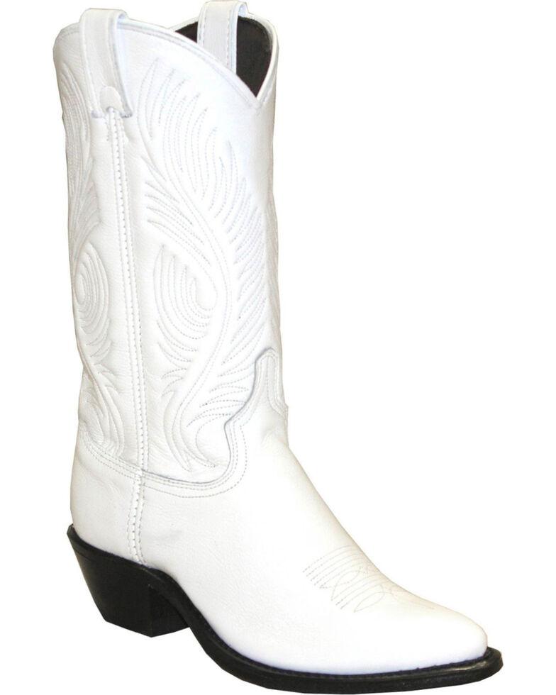 Abilene White Western Cowgirl Boots - Round Toe , White, hi-res