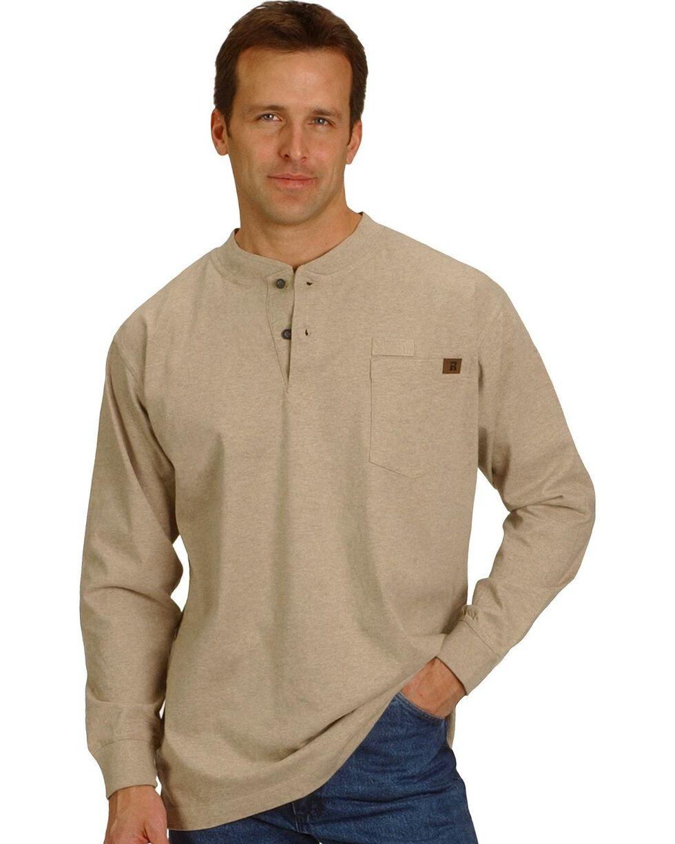 Riggs Workwear Men's Long Sleeve Henley T-Shirt, Heather Tan, hi-res