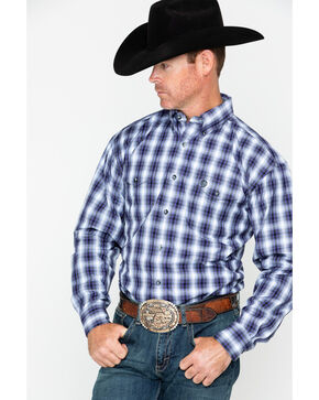 George Strait by Wrangler Men's Plaid Long Sleeve Western Shirt , Black/purple, hi-res