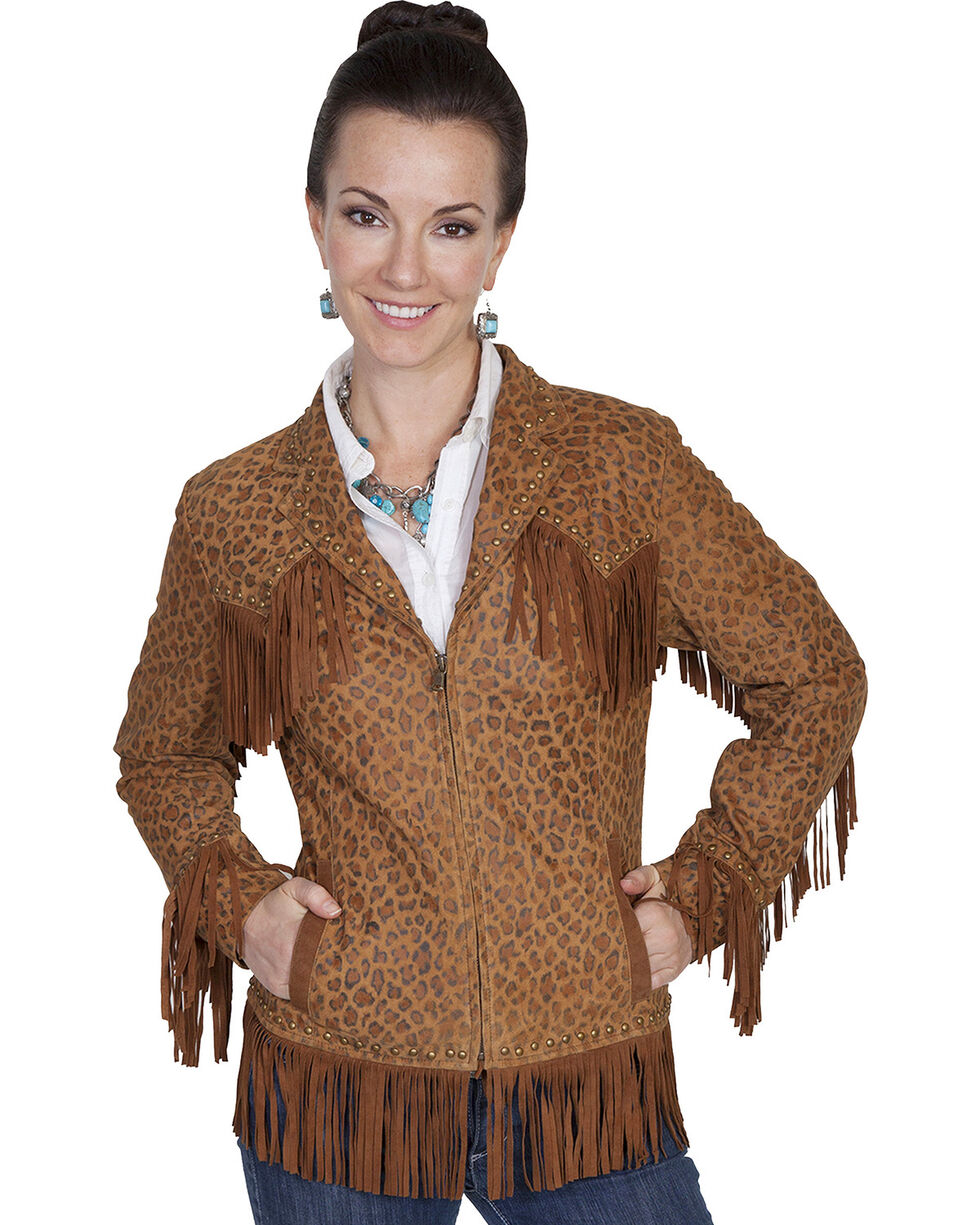Scully Women's Fringe Leopard Print Lamb Suede Jacket, Brown, hi-res