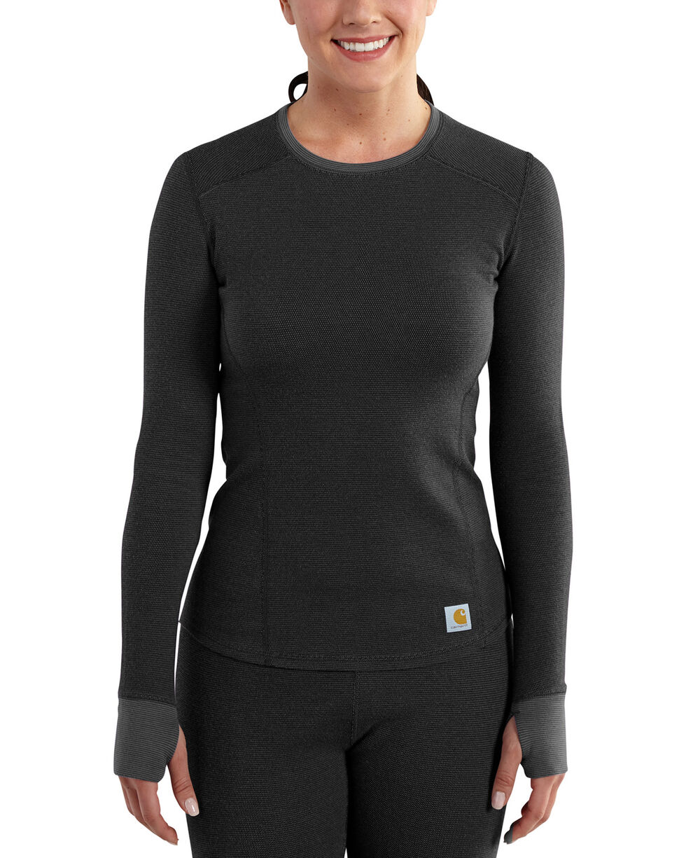 Carhartt Women's Base Force Cold Weather Crewneck Top, Black, hi-res