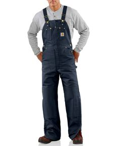 Carhartt Men's Duck Bib Quilt Lined Overall, Navy, hi-res