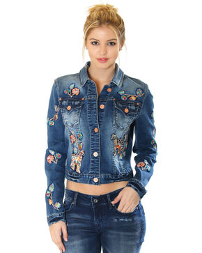 Grace in LA Women's Embroidered Denim Jacket , Indigo, hi-res