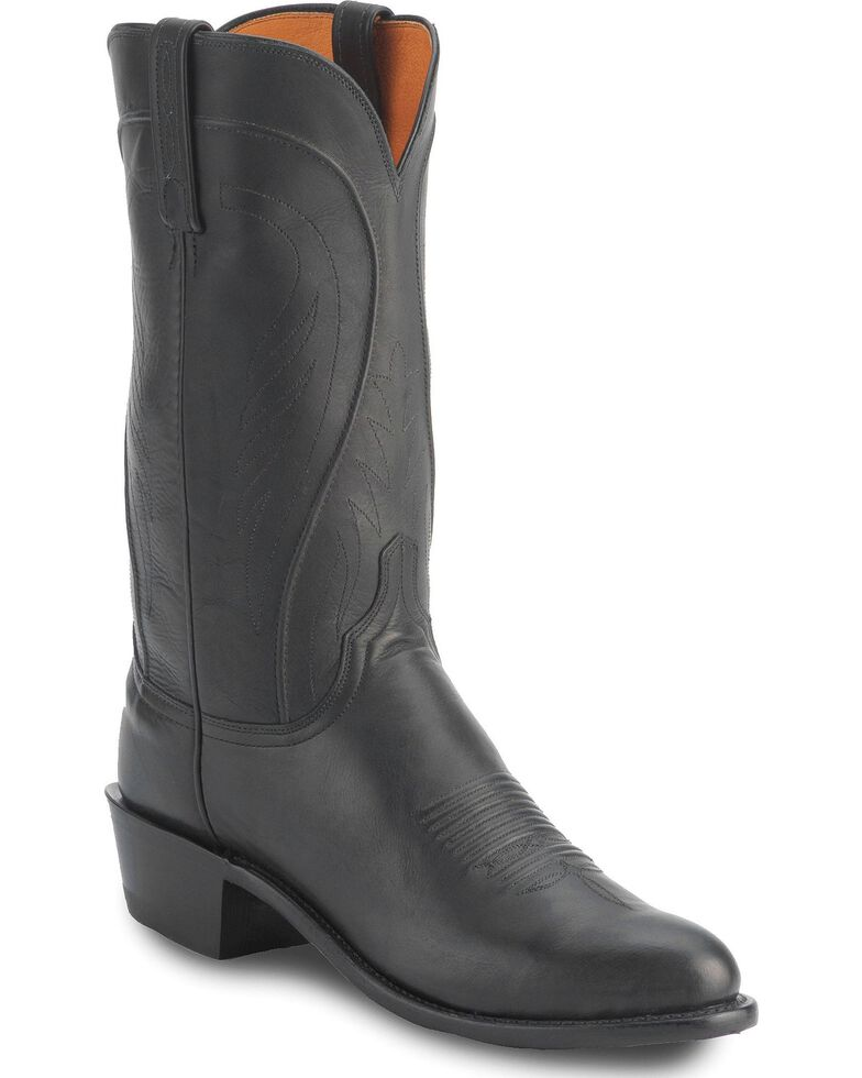 Lucchese Handmade 1883 Cole Ranch Hand Boots - Medium Toe, Black, hi-res