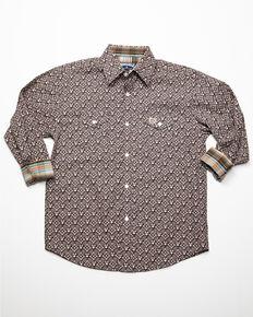 Panhandle Select Boys' Brushed Geo Print Long Sleeve Western Shirt , Brown, hi-res