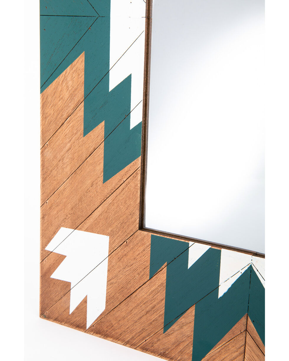 BB Ranch Aztec Wood Mirror, Turquoise, hi-res