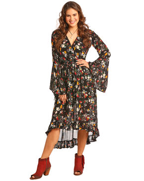 Rock & Roll Cowgirl Women's Floral Print Hi Low Dress , Black, hi-res