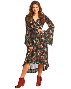 Rock & Roll Cowgirl Women's Floral Print Hi Low Dress , Black, hi-res