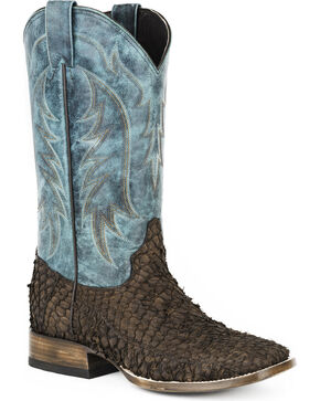 Stetson Men's Amazon Huachinango Fish Western Boots - Square Toe , Brown, hi-res