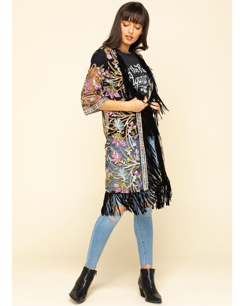 Shyanne Women's Embroidered Mesh Kimono Vest, Black, hi-res
